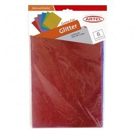 Goma eva glitter Artel A4 2mm colores x6ud