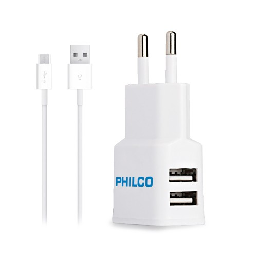 Cargador Philco USB doble 220V 2,1A