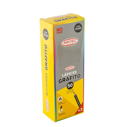 Lápices grafito Artel triangulares 2HB caja de 50 unidades