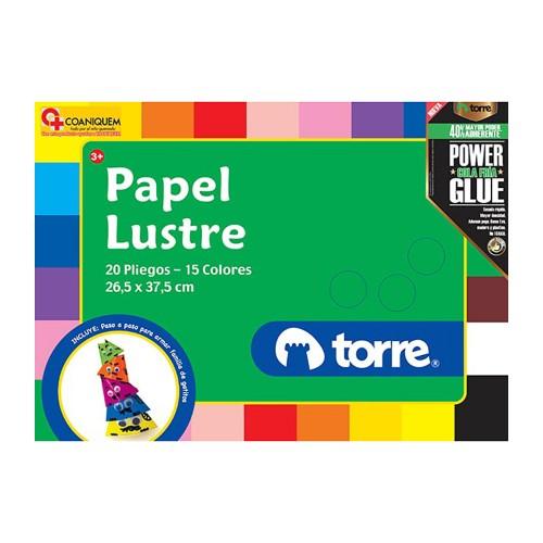 Bolsón papel lustre Torre 24 pliegos colores surtidos x1ud