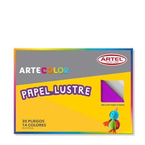 Bolsón papel lustre Artel 20 pliegos colores surtidos x1ud