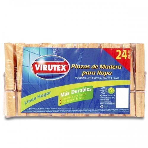Pinzas de madera para Ropa Virutex x 24 unidades