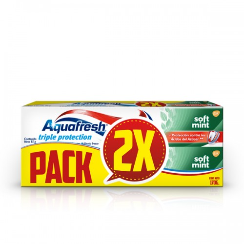 Pack pasta dental Aquafresh soft mint 2x85g