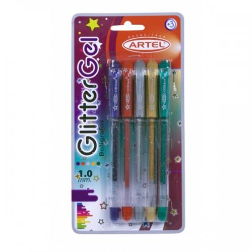 Bolígrafo Artel gel glitter 5 colores blister