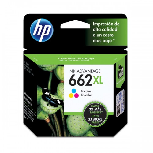 Tinta HP cartridge 662XL tricolor 8ml x1ud