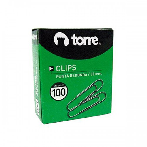 Clips caja Torre punta redonda 100 clips 33mmx20ud