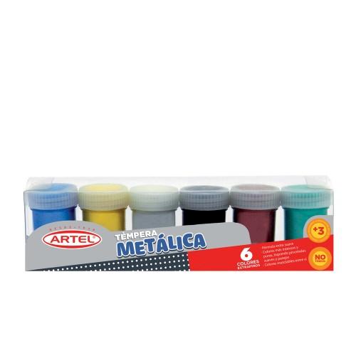 Témpera metálica Artel 15ml 6 colores x1ud