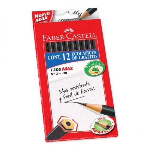 Lápiz grafito Faber-Castell n°2 hexagonal x12ud