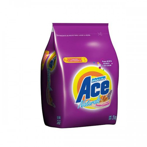 Detergente Ace Naturals con suavizante polvo 3 Kilos