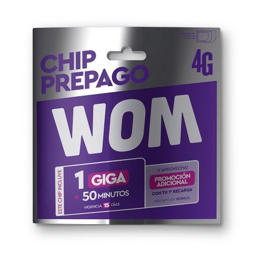 Sim Wom Chip prepago con 2000 x1ud