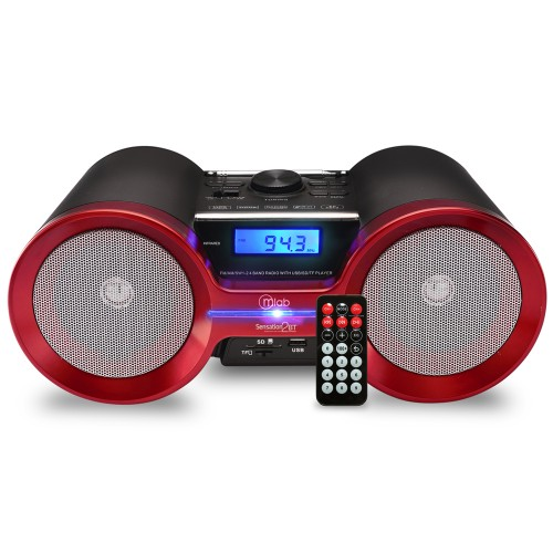Radio Microlab recargable BT/MSD/SD/USB/FM/ BK-RED